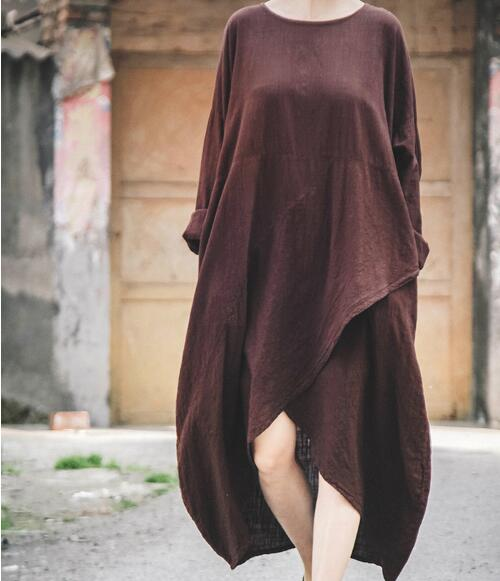 Loose-fitting-Women-Dresses-Linen-Cotton-Summer-Spring-Women-Dresses-Vintage-Style-Long-Sleeves (1)