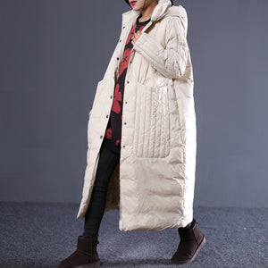 Loose large size casual long paragraph large pocket down jacket