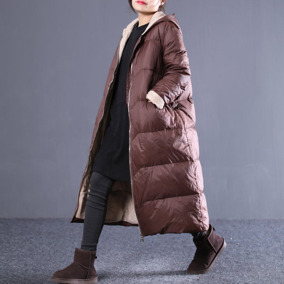 Loose-large-size-hooded-zip-down-jacket-coat