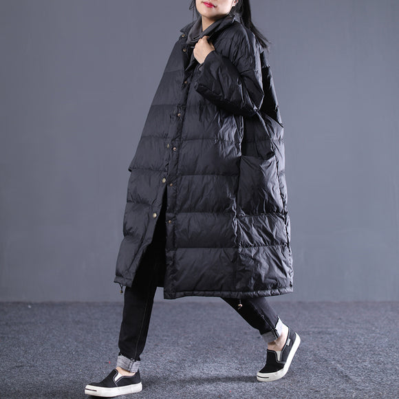 Loose large size long paragraph large pocket down jacket