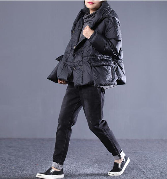 Loose large size pockets Hooded Short Down Jacket