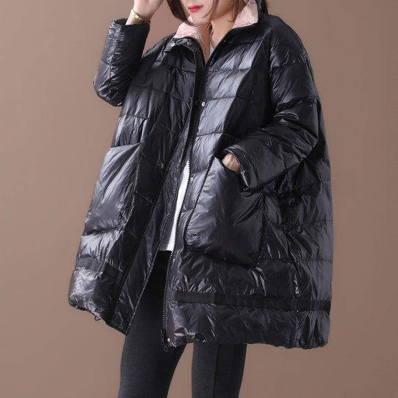 Loose large size stand collar large pocket zipper bright down jacket