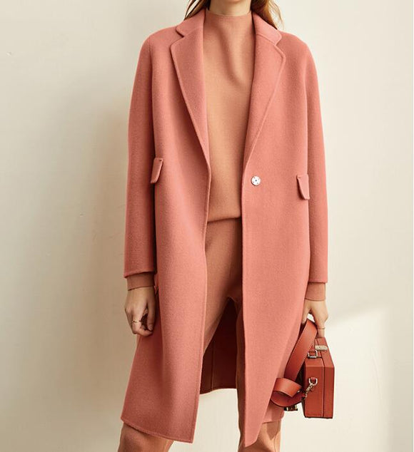 Pink Cashmere Women Winter Long Women Wool Coat Jacket