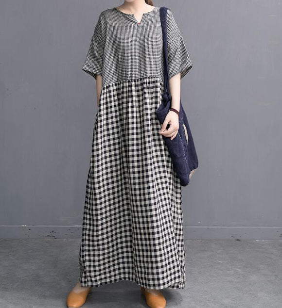 Spring Plaid Women Linen Cotton Dresses Long Sleeve Women Dress YM9201229