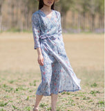 Print-Floral-100%-linen-women-Dresses-V-neck-summer-spring-women-dresses-waist-belt (10)