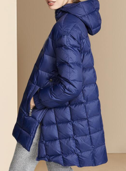 Slit  Winter Duck Down Jacket, Hooded Down Jacket Women Plus Size