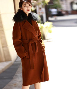 Wool Fur Collar Long Wool Coat Double Face Cashmere Coat