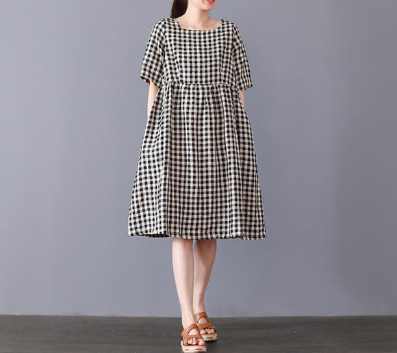 women checked linen dresses