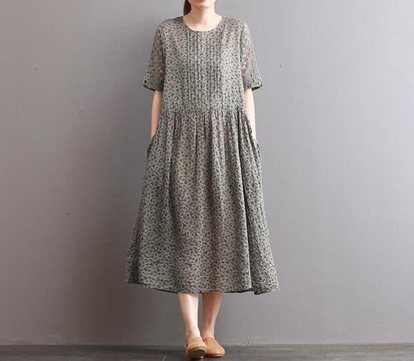 Loose Style Cotton Linen Dresses Women Long  Dresses Short Sleeve
