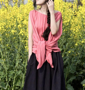 women-summer-silk-cotton-tops-asymmetric-pink-blouse