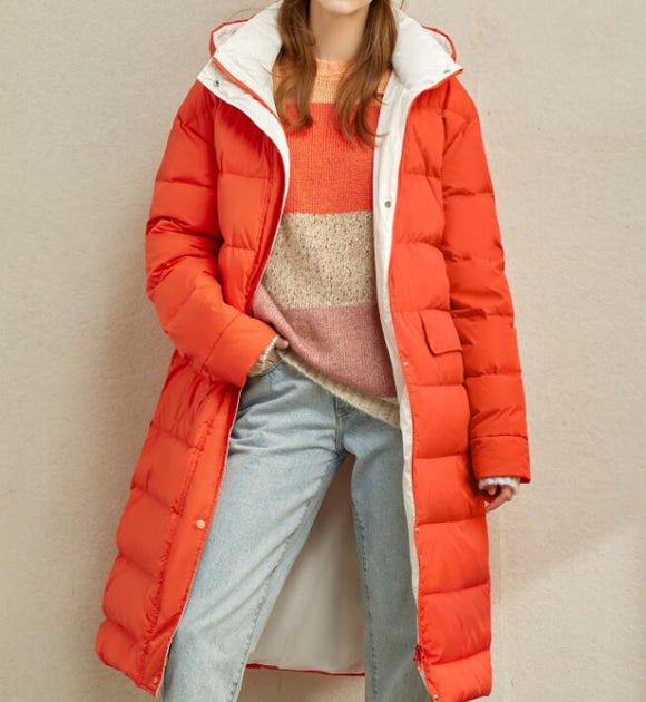 Contrast Color Long Women Winter Loose Plus size Side Pockets Down Jacket Women Down Coats