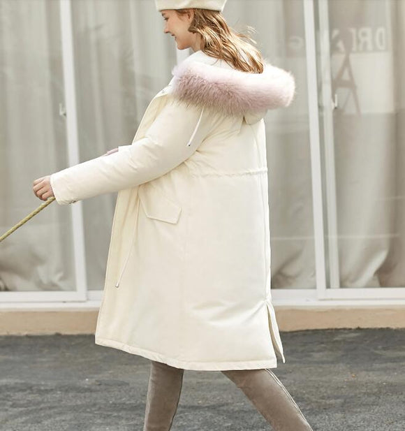 Copy of White Long Fur Trim Women Winter Loose Plus size Side Pockets Down Jacket Women Down Coats Any Size