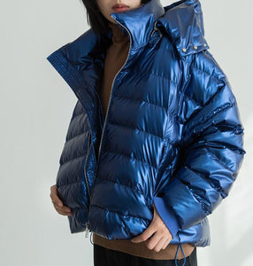 Short Hoodie Shiny Side Pockets 90% Duck Down Jacket Winter Down Coat