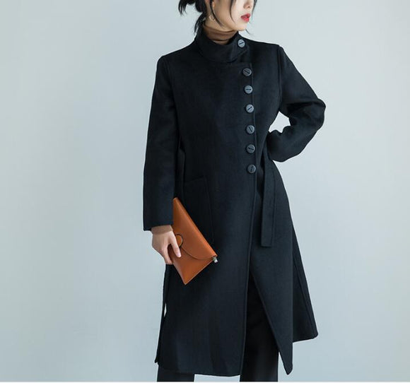 Buttons Black Women Winter Black Long Women Wool Coat Jacket