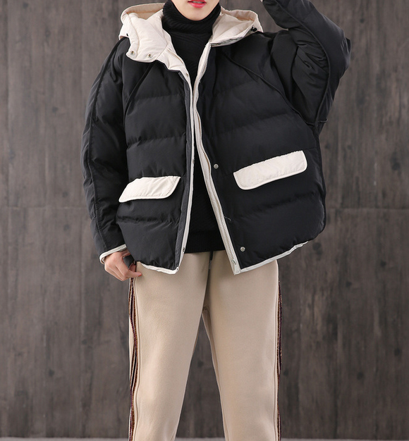 Loose Large pockets Hooded Women Winter Short Down Jacket