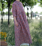 Floral  Linen Long Sleeve Loose Dress Women Dress SJP9201229