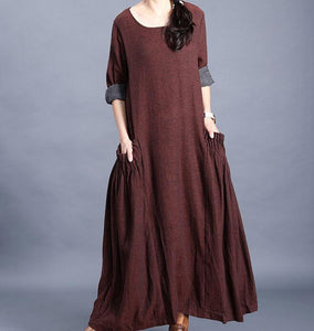 O Neck Pleated Side Pockets Long Sleeve Print Linen Women Maxi Dresses  LVSG200122