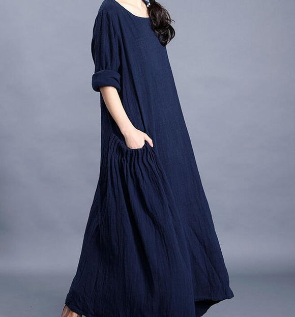 Navy  O Neck Pleated Side Pockets Long Sleeve Print Linen Women Maxi Dresses  LVSG200122