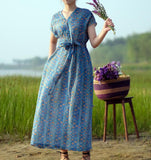 Floral Linen Long Sleeve Dress Loose Women Dress SJP9201229