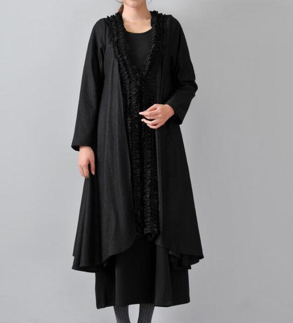 Women Cloak Coat Handmade Cardigan loose Women Wool Coat Jacket