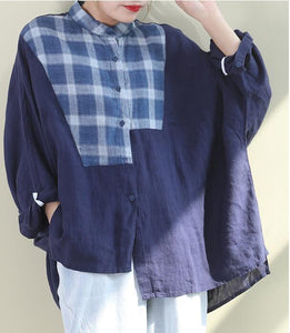 Patch Work Women Casual Blouse Linen Shirts Loose Blouse Plus Size Women Tops WG961707