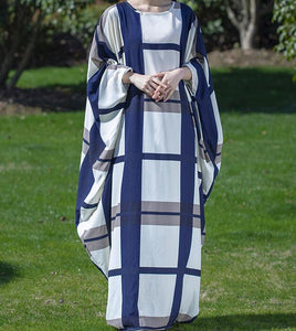 Plus Size Checked Loose Maxi Bat Sleeve Baggy Women Dress YM201229