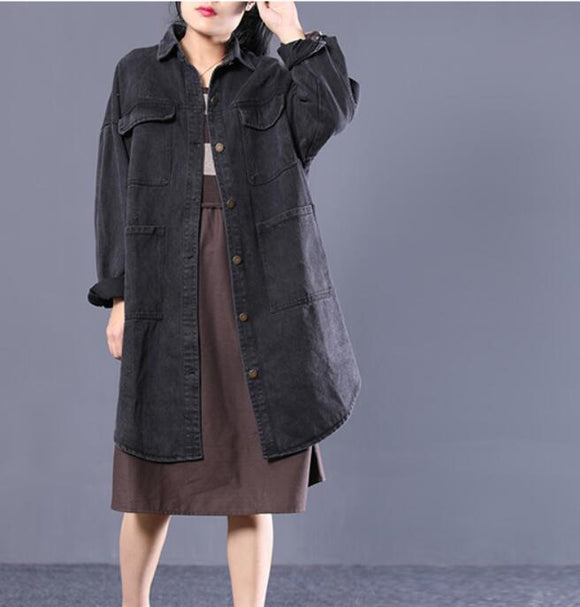 Plus Size Loose Long Hooded Casual Coat A line Parka Coat Jacket