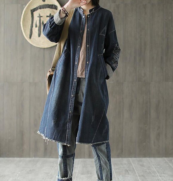 Embroidery Denim Plus Size Loose Casual Coat Parka Coat Jacket
