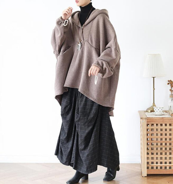 Cloak Casual Coat Loose Hooded  Plus Size Coat Jacket