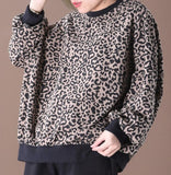 Leopard Print Loose Spring Casual Women Tunic Cotton Tops WG961707