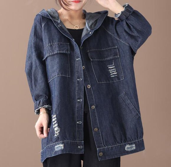 Denim Hooded Loose Short Casual Coat A line Parka Plus Size Coat Jacket