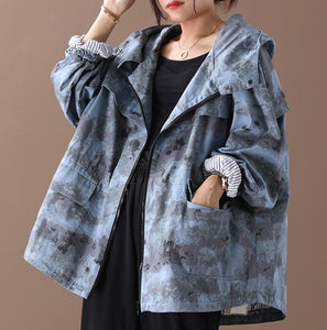 Hooded Denim Loose Short Casual Coat A line Parka Plus Size Coat Jacket
