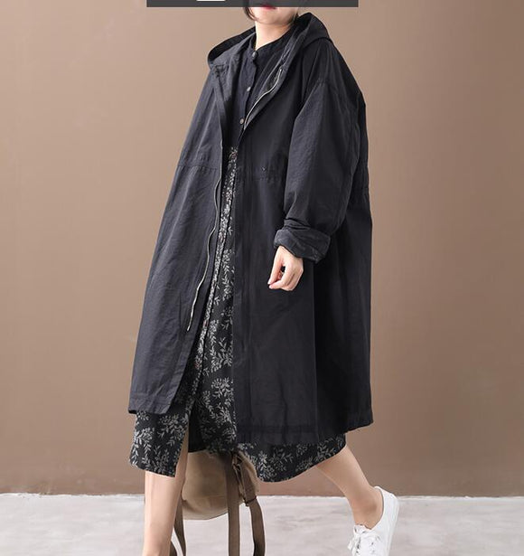 Loose Hooded Short Casual Coat A line Parka Plus Size Coat Jacket
