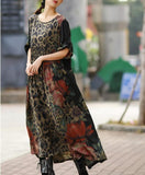 Silk Floral Loose Long Dresses Plus Size Women Dresses