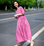 Pink V Neck Loose Sleeve Line Women Dress   YM201229