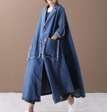 Washed Denim Loose Casual Coat A line Parka Plus Size Coat Jacket