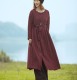 PurpLe Loose Long Sleeve Line Women Dress YM201229
