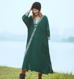 V Neck Loose Long Sleeve Line Cotton Women Dress YM201229