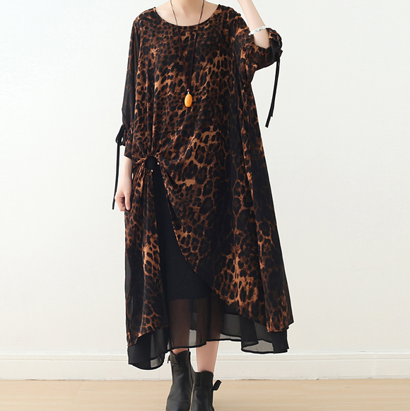 Leopard Print Chiffon Loose Long Dresses Plus Size AMT962328