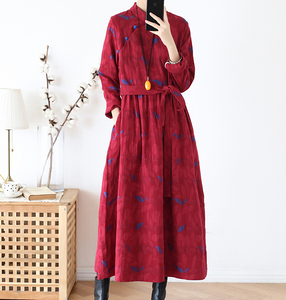 Floral Print Linen Cotton Loose Long Women Spring Dresses Plus Size With Waist Belt AMT962328