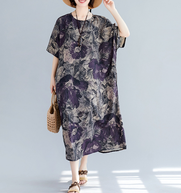 Floral Plus Size Loose Style Summer Women Dresses
