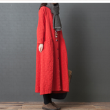 Loose Long Sleeve Linen Cotton O Neck Plus Size Women Dress