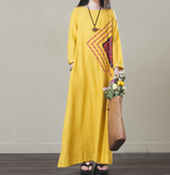 Yellow Loose Long Sleeve Linen Cotton O Neck Plus Size Women Dress