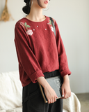 Embroidery Spring Loose Women Casual Tunic Linen Shirts Women Tops