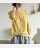 Long Sleeves Blouse Loose Style T-Shirts knit Tops H9508