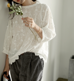 Applique Long Sleeves Loose Style T-Shirts knit Tops H9508