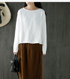 Loose O Neck Long Sleeves Knit T-Shirts Spring Tops H9508