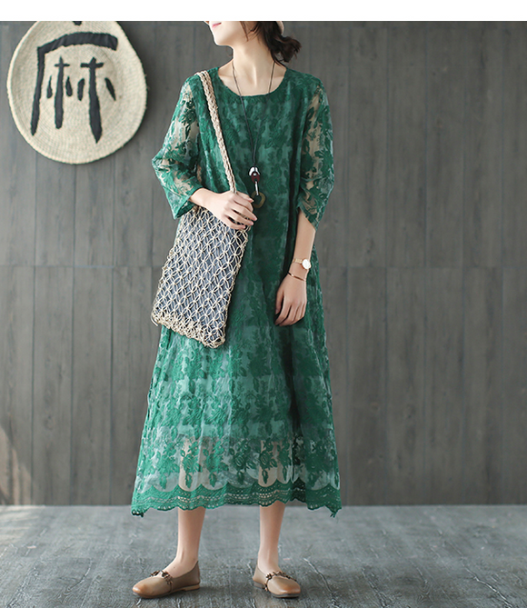 Loose Long Sleeve Lace O Neck Plus Size Women Dress