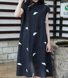 Embroidery Feather Linen O Neck Women Dress