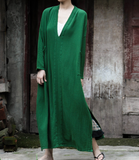 Deep V Neck Slit Linen Loose Cotton Women Dress